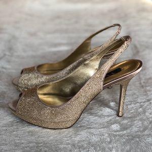 Shimmering Gold Slingback Heel